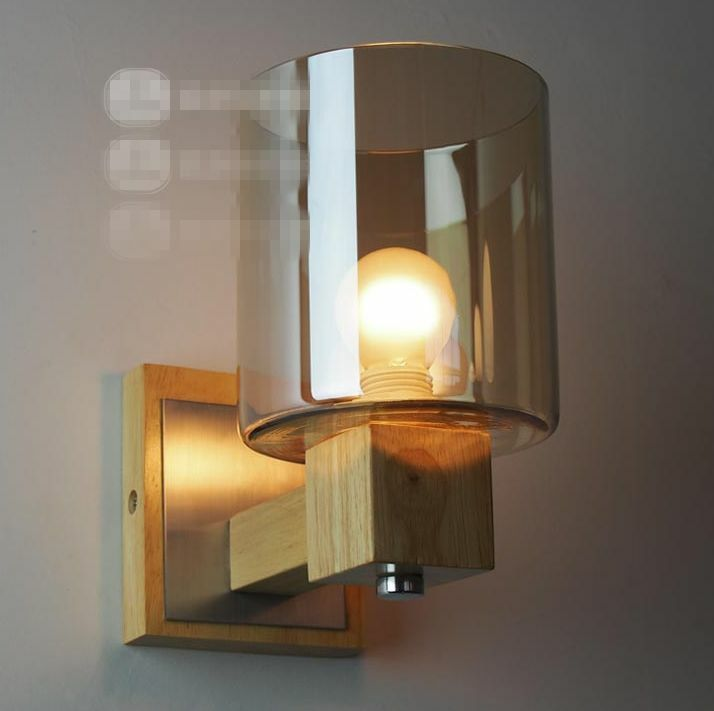 Diy Wall Light Cover : Design Solid Wood Wall Lamp Glass Cover Light DIY Lighting Home Cafe Shop Ous eBay