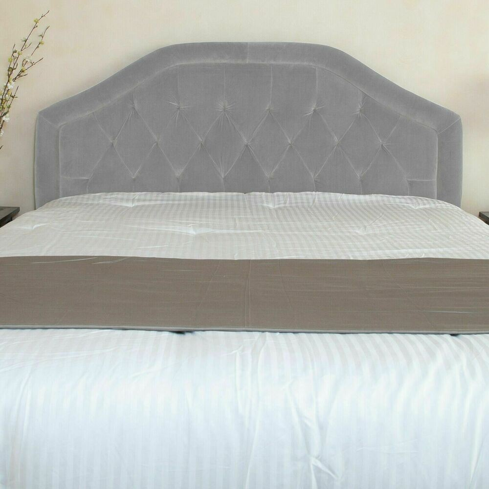 contemporary full queen size grey velvet headboard w button tufted accent ebay. Black Bedroom Furniture Sets. Home Design Ideas