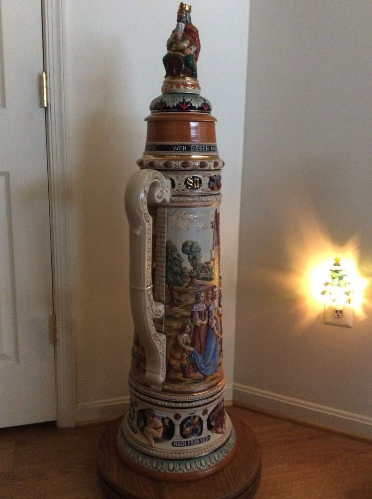 4 foot authentic lidded beer stein made in germany w wooden stand ebay. Black Bedroom Furniture Sets. Home Design Ideas