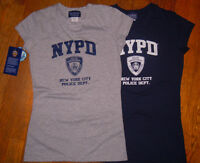 NYPD Licensed Navy Blue Cap Sleeve Babydoll T-Shirt 95% Cotton NYC Souvenir