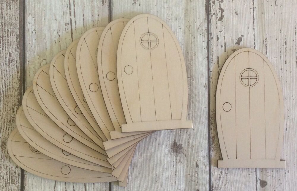 Brand new set of 10 laser cut wooden fairy faerie elf for Wooden fairy doors