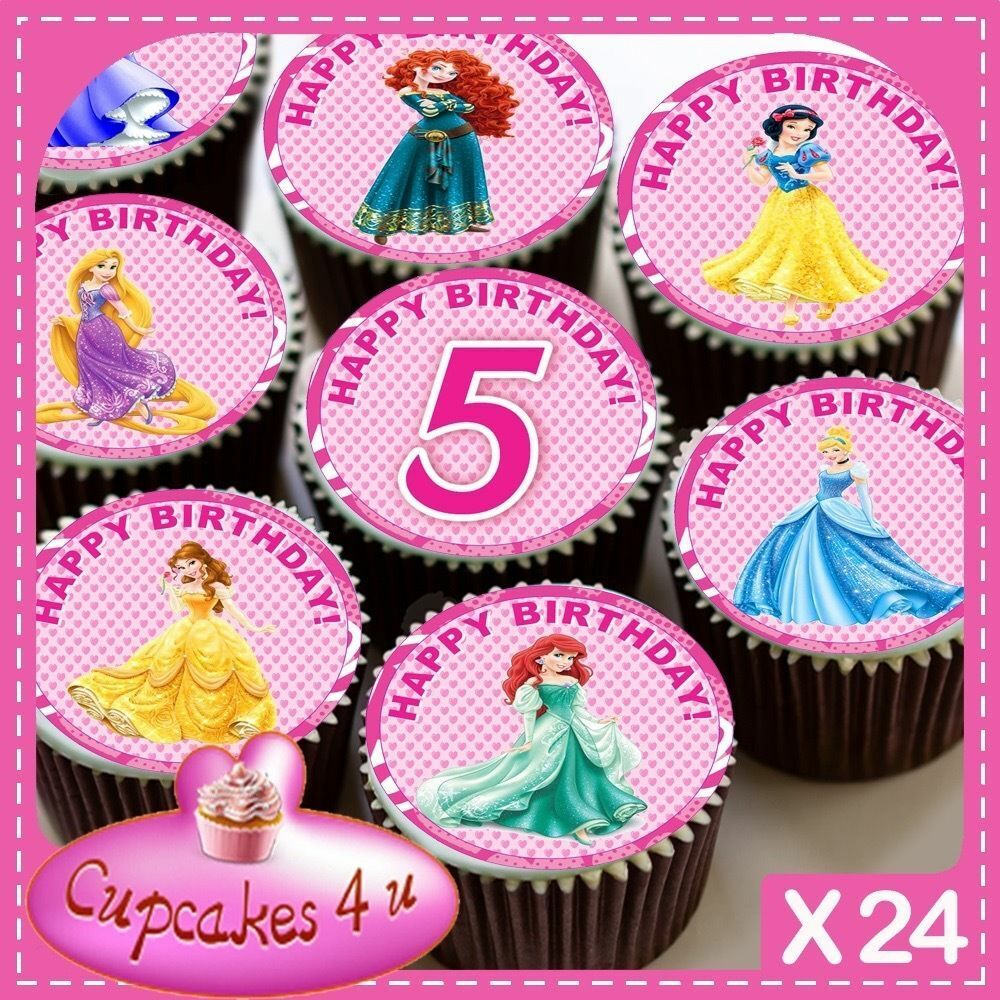Details About 24 X PRINCESS 5TH BIRTHDAY CUPCAKE TOPPERS EDIBLE CAKE RICE PAPER CC0339