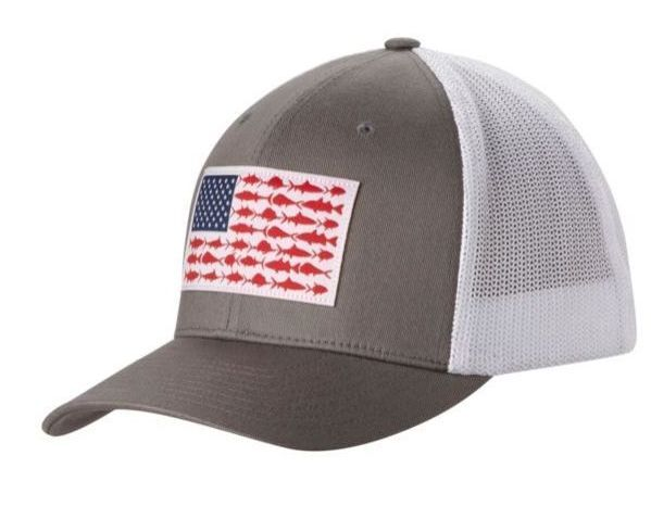 New Columbia Pfg Mesh Hat Cap Flex Fit Titanium Gray