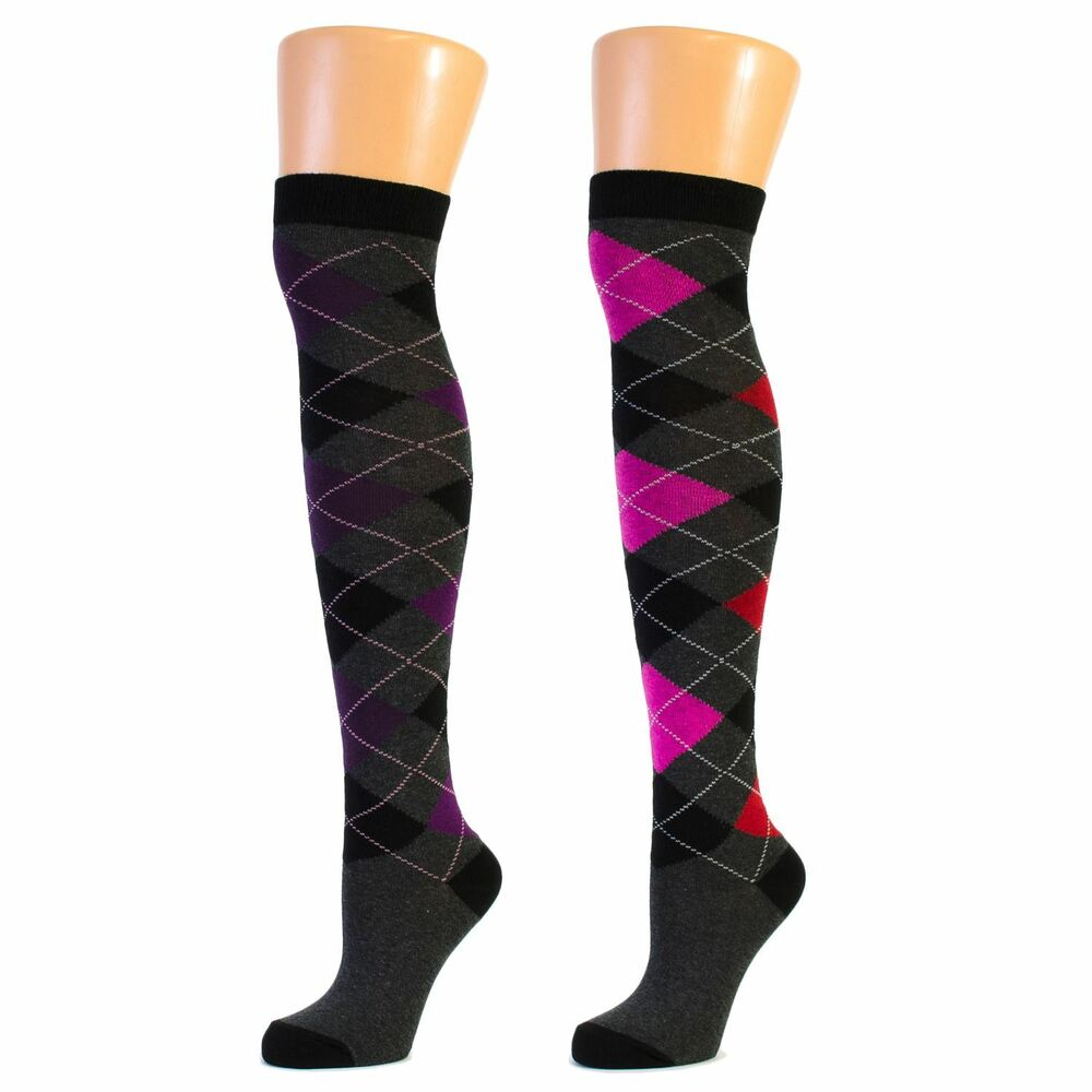 ladies argyle diamond over the knee socks lot ebay. Black Bedroom Furniture Sets. Home Design Ideas