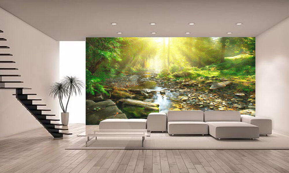 Photo Wallpaper River-Green Forest GIANT WALL DECOR PAPER