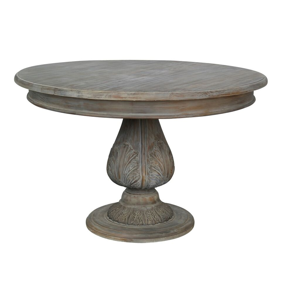 French Country Round Dining Table: French Country Style Washed Round Pedestal Acorn Medium