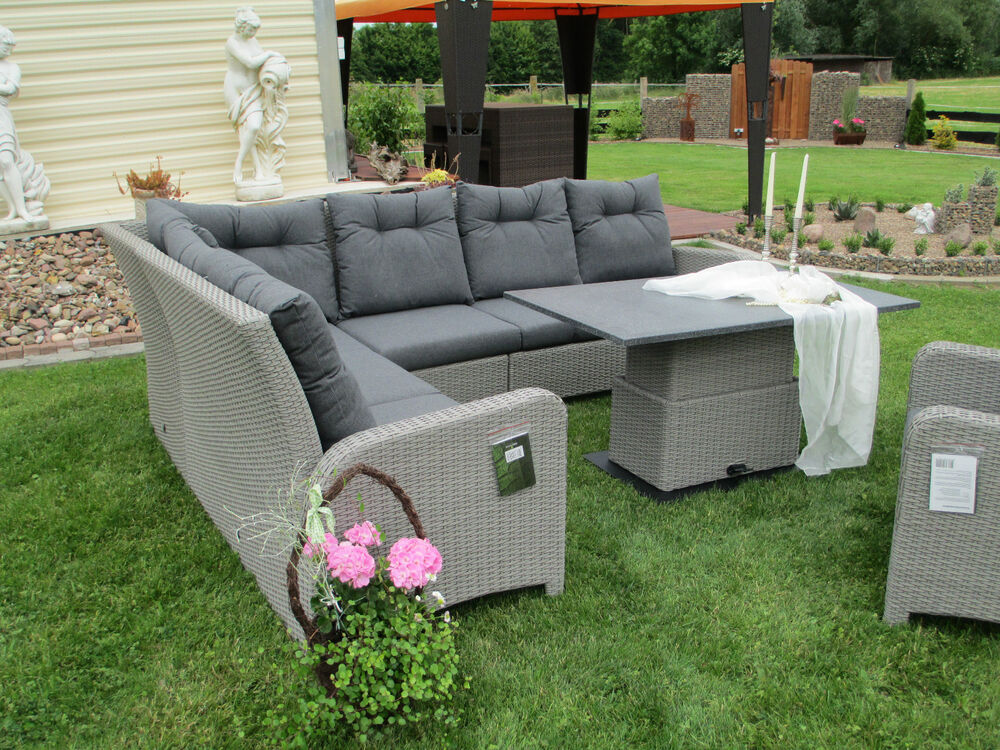 exclusive gartenlounge essgruppe gartenm bel terrassenm bel poly rattan ebay. Black Bedroom Furniture Sets. Home Design Ideas