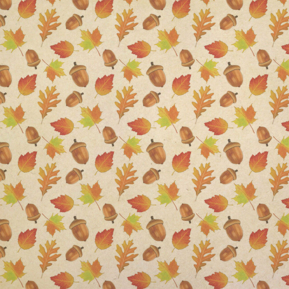 Autumn Leaves and Acorn Kraft Present Gift Wrap Wrapping