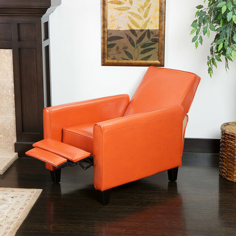 Living Room Furniture Modern Design Burnt Orange Leather Recliner Chair EBay
