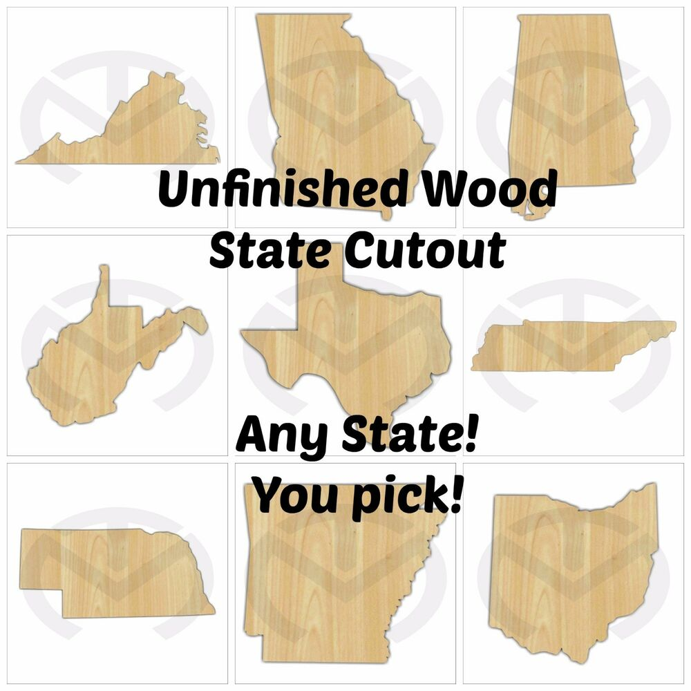 Unfinished Wood Texas Or Other State Laser Cutout