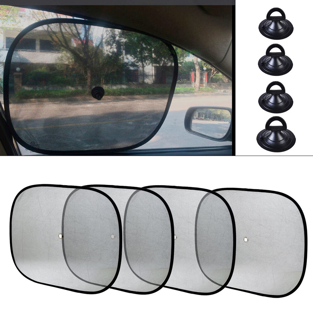 new 4x auto foldable side window sunshade sun shade for car visor mesh cover ebay. Black Bedroom Furniture Sets. Home Design Ideas