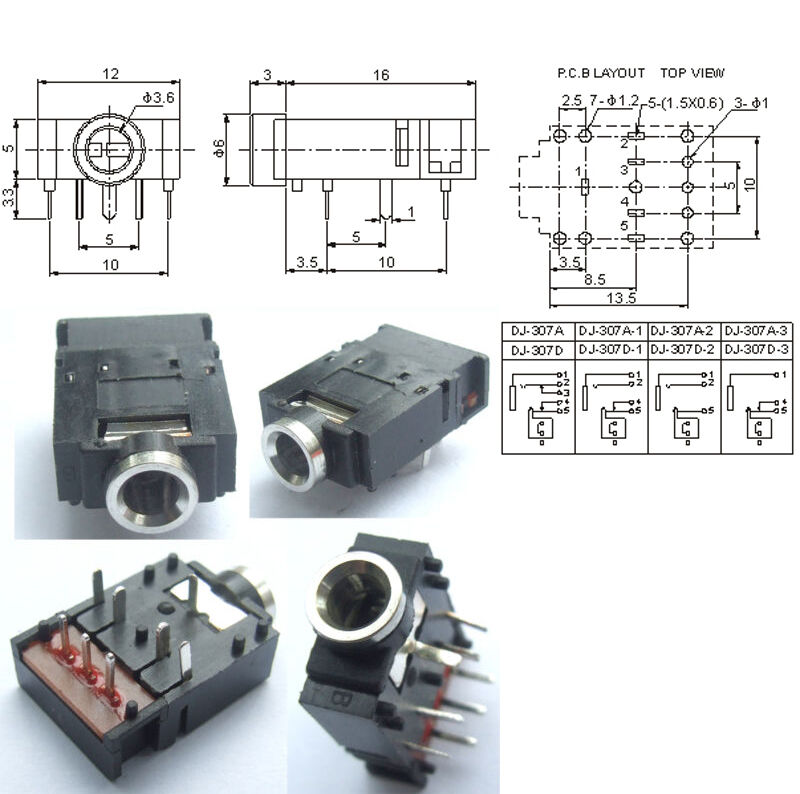 10pcs 8 pin 1 8 quot 3 5mm stereo socket with switch pcb panel mount for headphones ebay