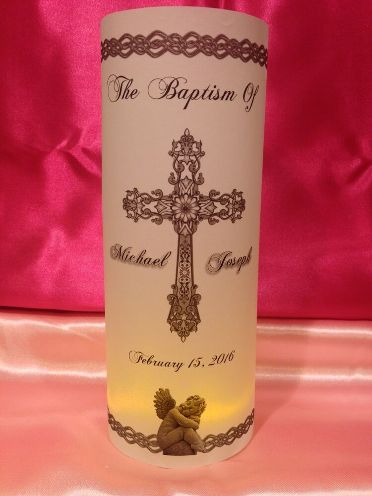 Personalized baptism christening luminaries table