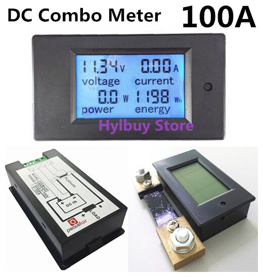Dc Voltage Digital Panel Meters : Dc a lcd combo meter voltage current kwh watt panel