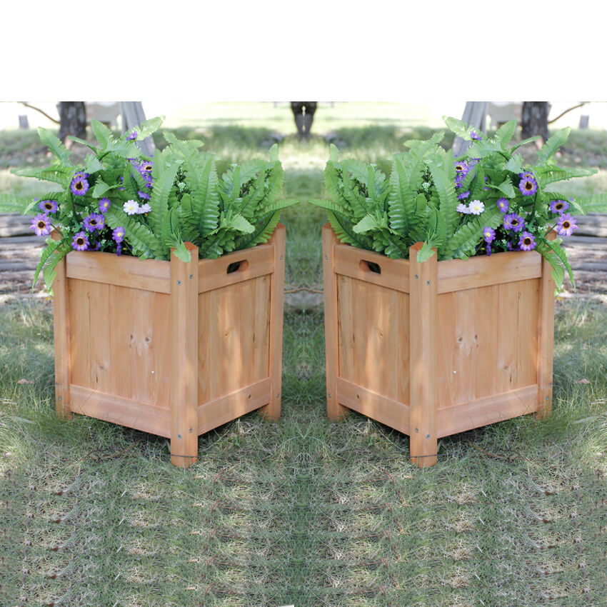 2X SQUARE OUTDOOR WOODEN GARDEN PLANTER PLANTPOT FLOWER