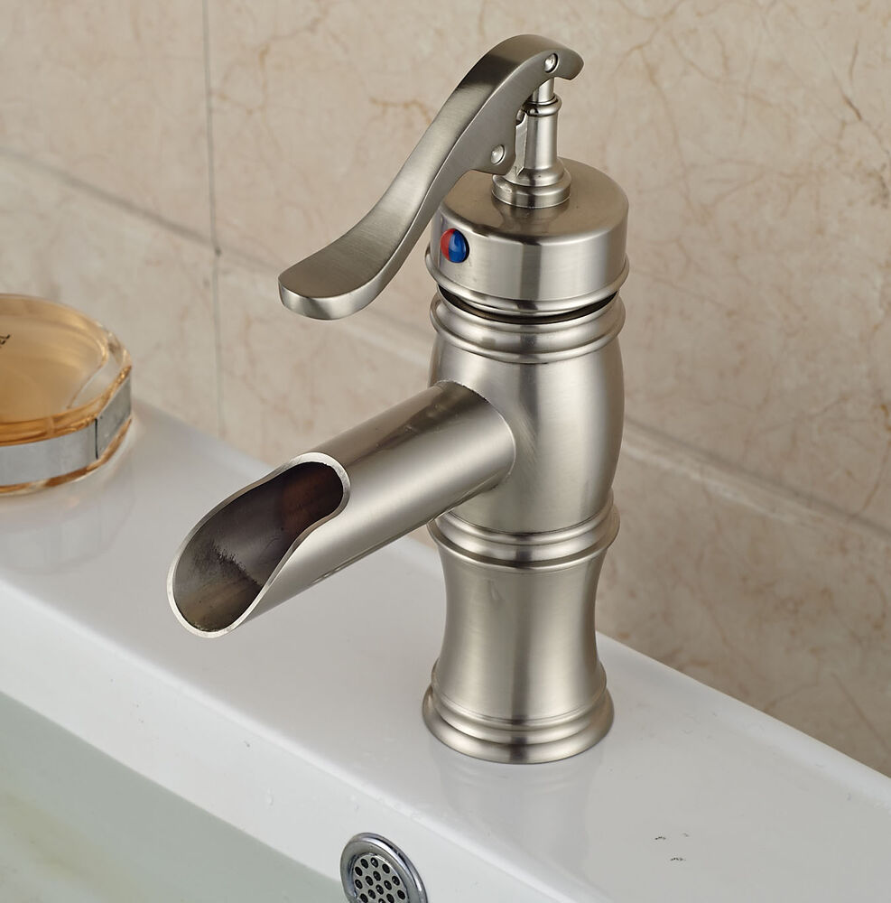 brushed nickel waterfall bathroom basin faucet single lever sink mixer