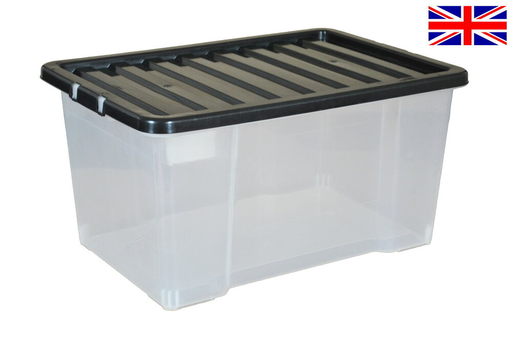 5x 50 litre plastic storage boxes with black lids new