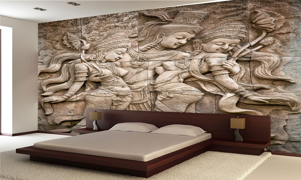 Thai style angel statue wall mural photo wallpaper giant for Cheap wall mural posters