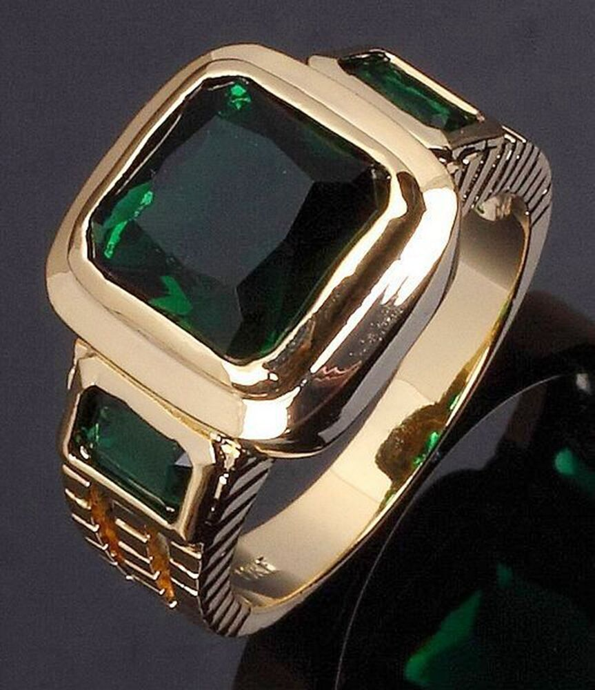 hot fashion mens size 7 13 emerald cut emerald 18k gold. Black Bedroom Furniture Sets. Home Design Ideas