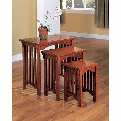 Nesting end tables set pc mission style side oak finish