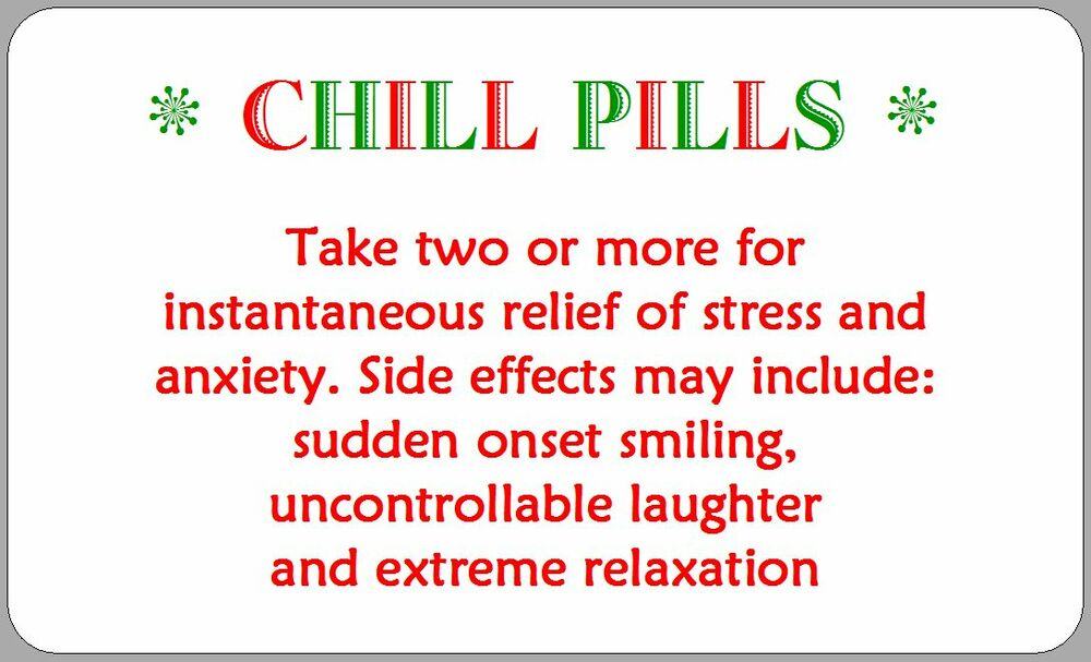 21 Chill Pills Stickers Funny Gift Ideas Fete Fayre Labels
