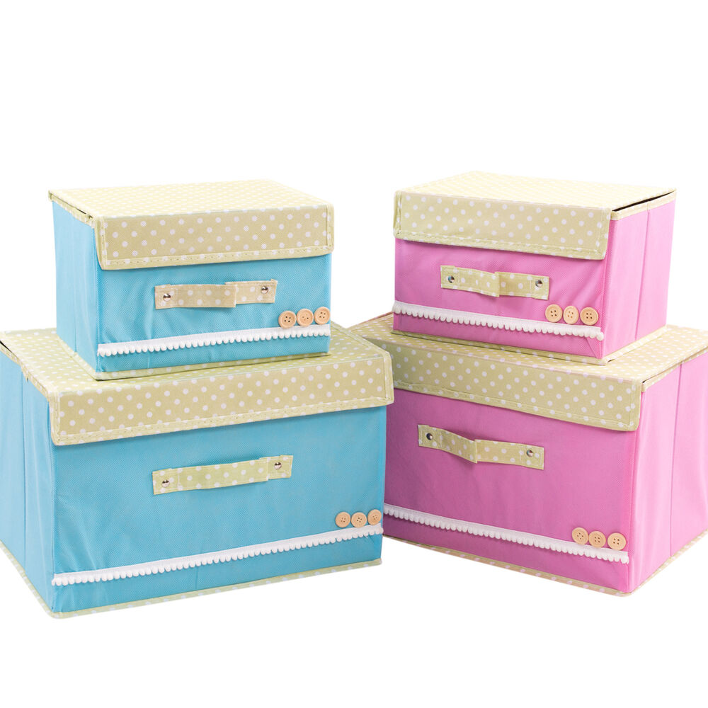 Canvas Storage Boxes For Wardrobes: Set Of 2 NEW Foldable Tote Canvas Storage Boxes With