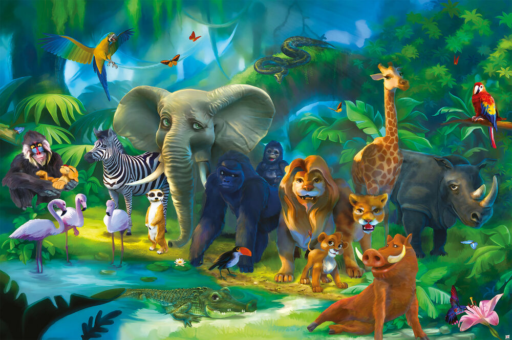 safari wandbild dschungel tiere fototapete xxl jungle wanddeko kinder xxl poster ebay. Black Bedroom Furniture Sets. Home Design Ideas