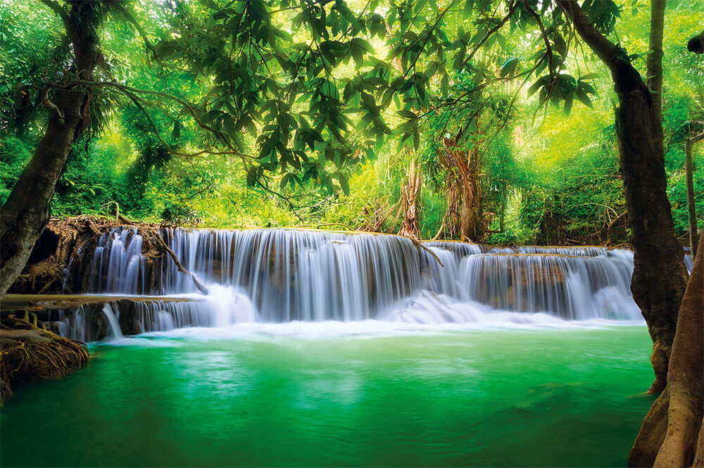 paradies fototapete wasserfall im wald dschungel fluss kanchanaburi xxl poster ebay. Black Bedroom Furniture Sets. Home Design Ideas