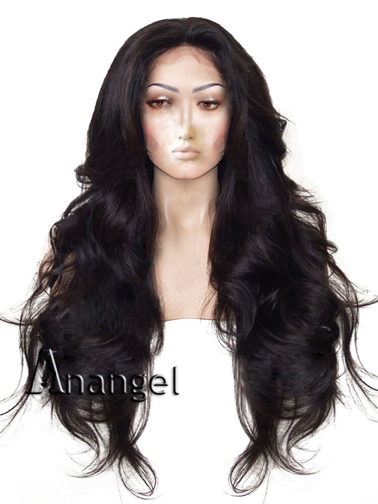 Wavy Glueless Black Synthetic Lace Front Wig Full Women S