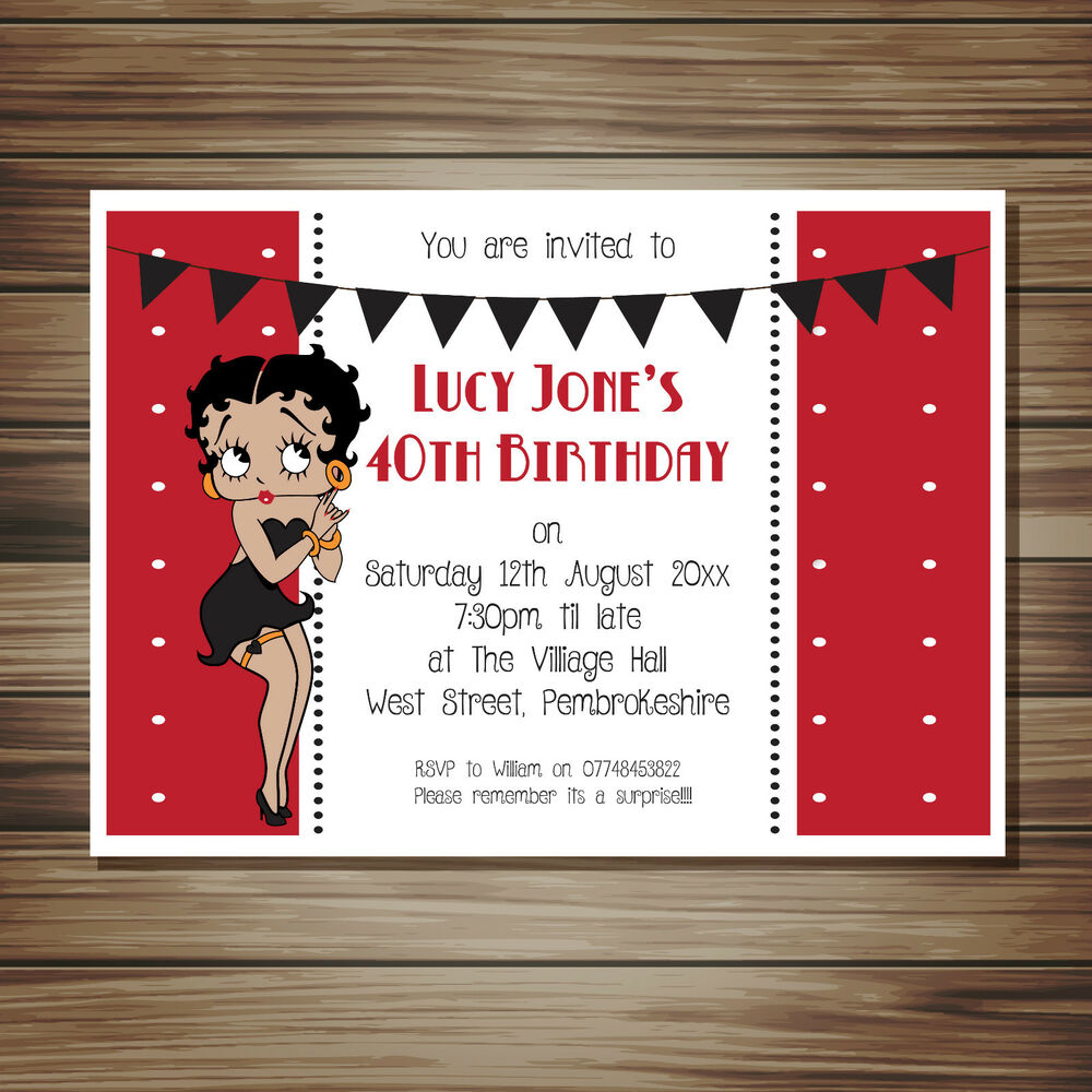 Betty Boop Party Invitations All Occasions All Colours Personlised ...