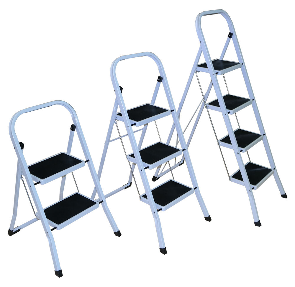 Strong 2 3 4 Folding Step Ladder Non Slip Matt Stepladder