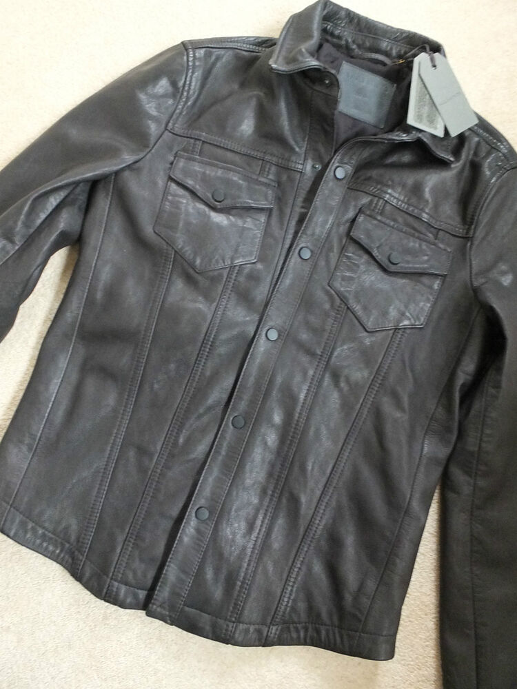 All saints men 39 s moore black leather shirt jacket coat for Leather jacket and shirt