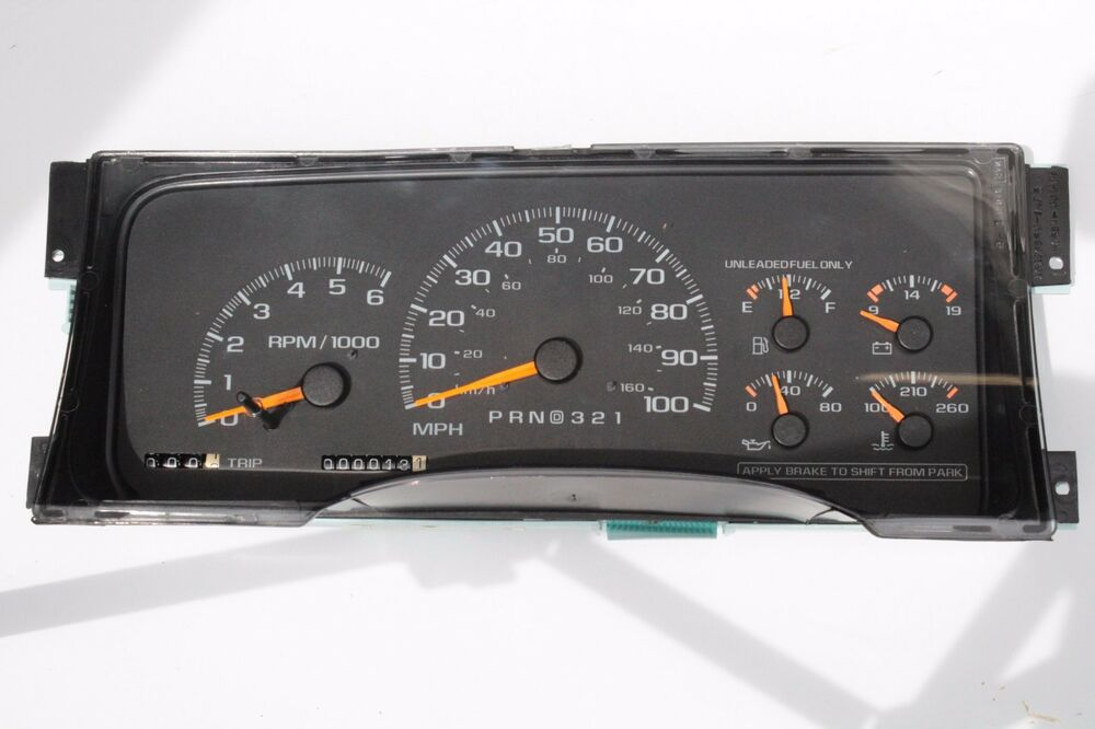 Labeled Instrument Panel For Trucks : Rebuilt factory gm truck or utility instrument dash