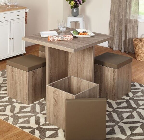 5pc dining table set dinette chairs modern kitchen for Kitchen dining sets for small kitchens