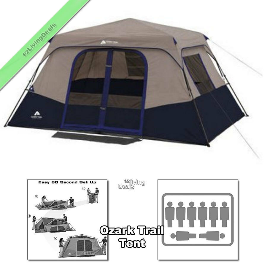 Ozark trail tent 8 person 2 rm 13 39 x9 39 family instant cabin for What is a tent cabin