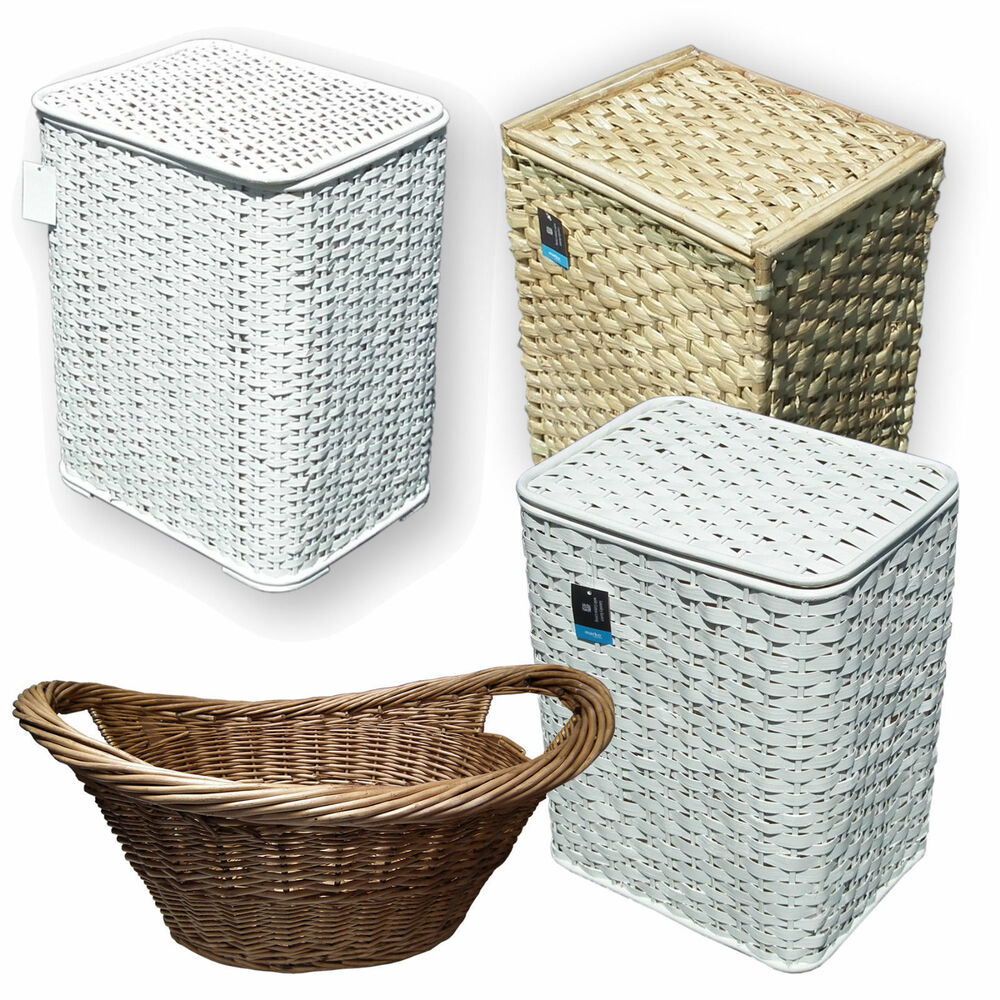 Bamboo seagrass wicker laundry basket lid white woven clothing washing s m l ebay - Rattan laundry basket with lid ...