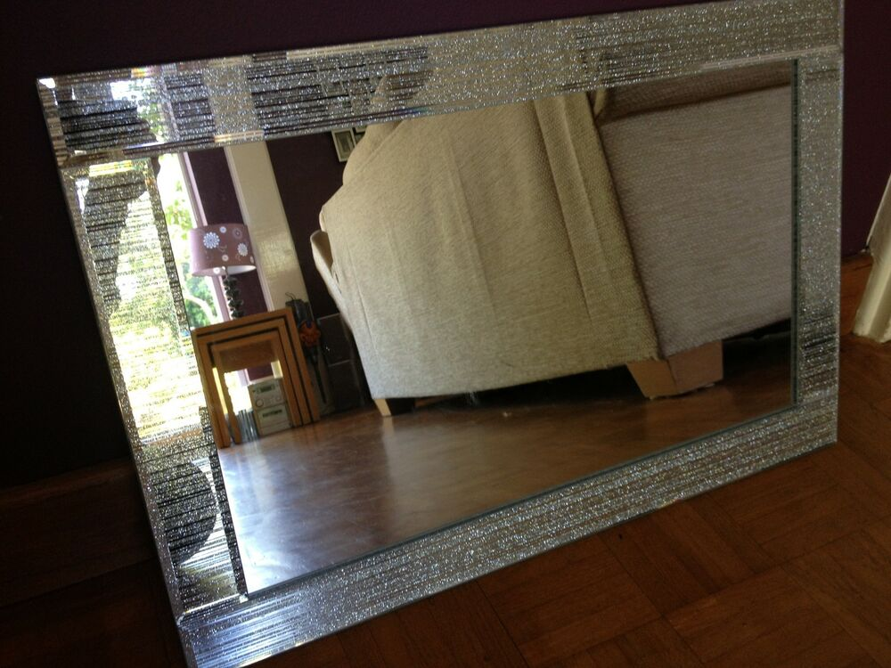 Glitter Silver Mirror Frame Glass Living Room Lounge
