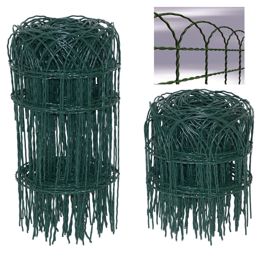 GARDEN BORDER FENCE WIRE MESH GREEN PVC COATED LAWN EDGING OUTDOOR 2 SIZES