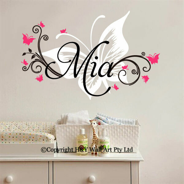 Name Wall Decals For Nursery Tags: Custom Personalised Name Butterflies Wall Sticker Nursery