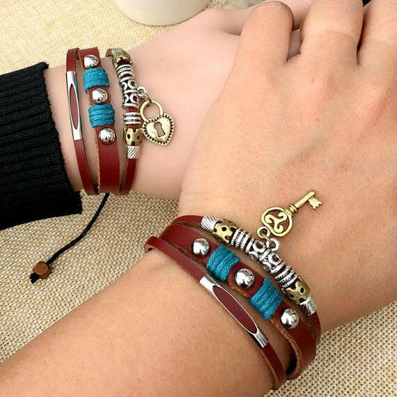 couple leather bracelets lock and key his hers jewelry. Black Bedroom Furniture Sets. Home Design Ideas