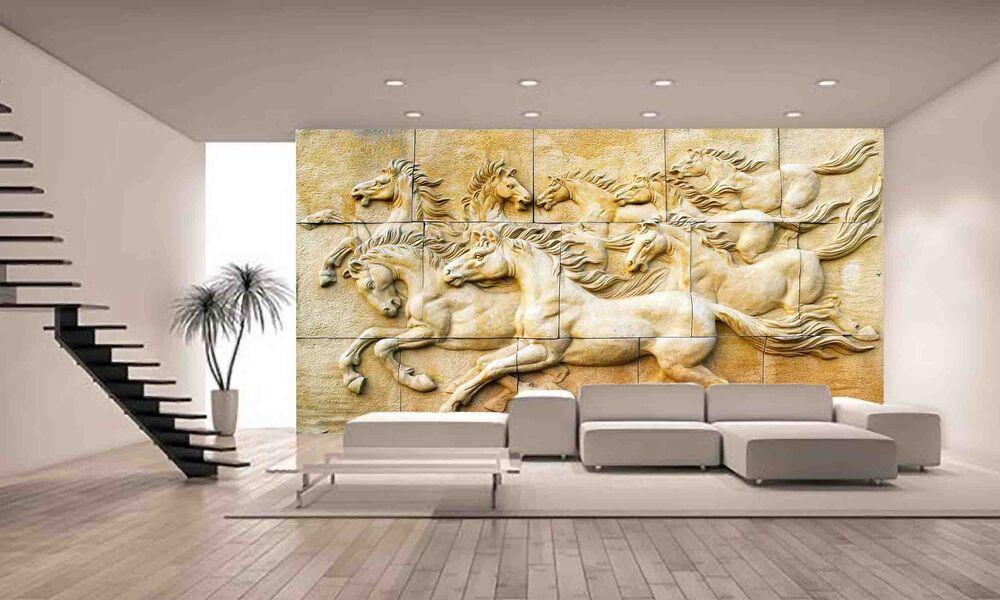 Stone sculpture horse wall mural photo wallpaper giant for Equestrian wall mural