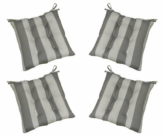 Set Of 4 In Outdoor Tufted Chair Seat Cushions Gray