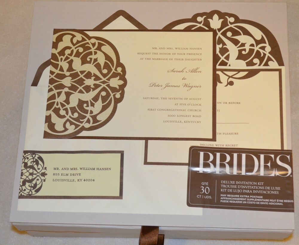 Brides Deluxe Wedding Invitation Kit 30 Counts T Brown
