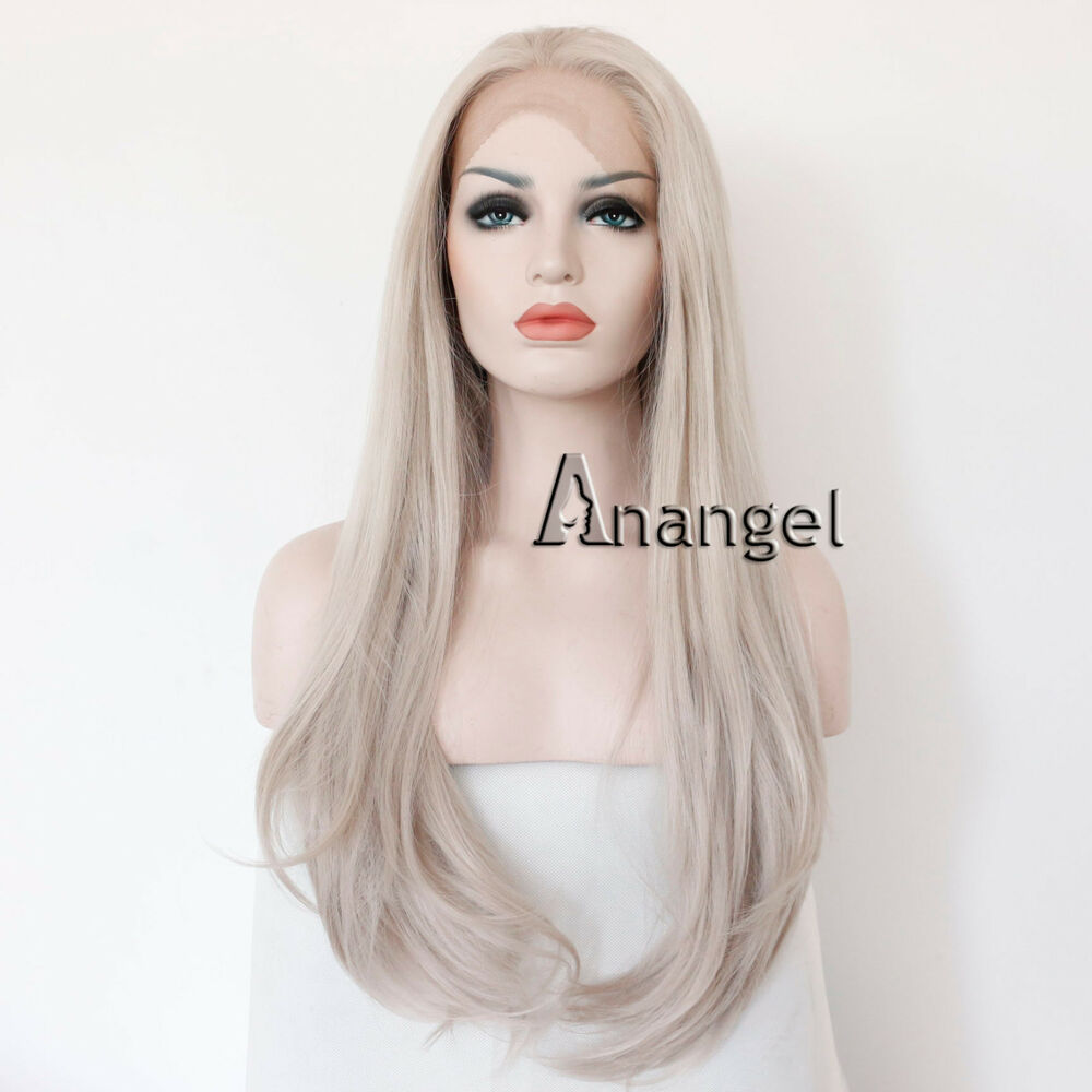 Long Straight Synthetic Silver Grey Lace Front Wig Heat