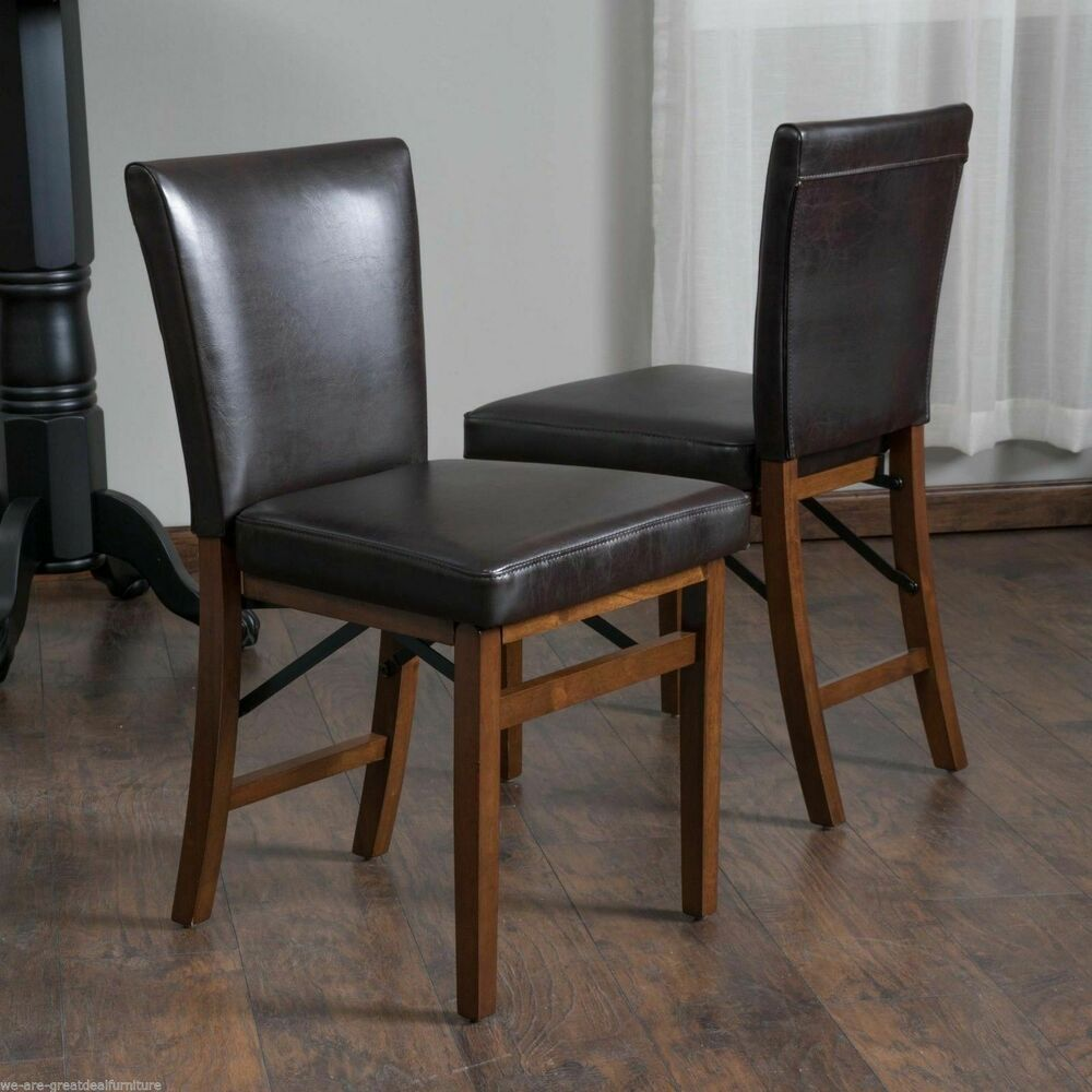 Set of 2 elegant design brown leather folding dining for Brown leather dining room chairs