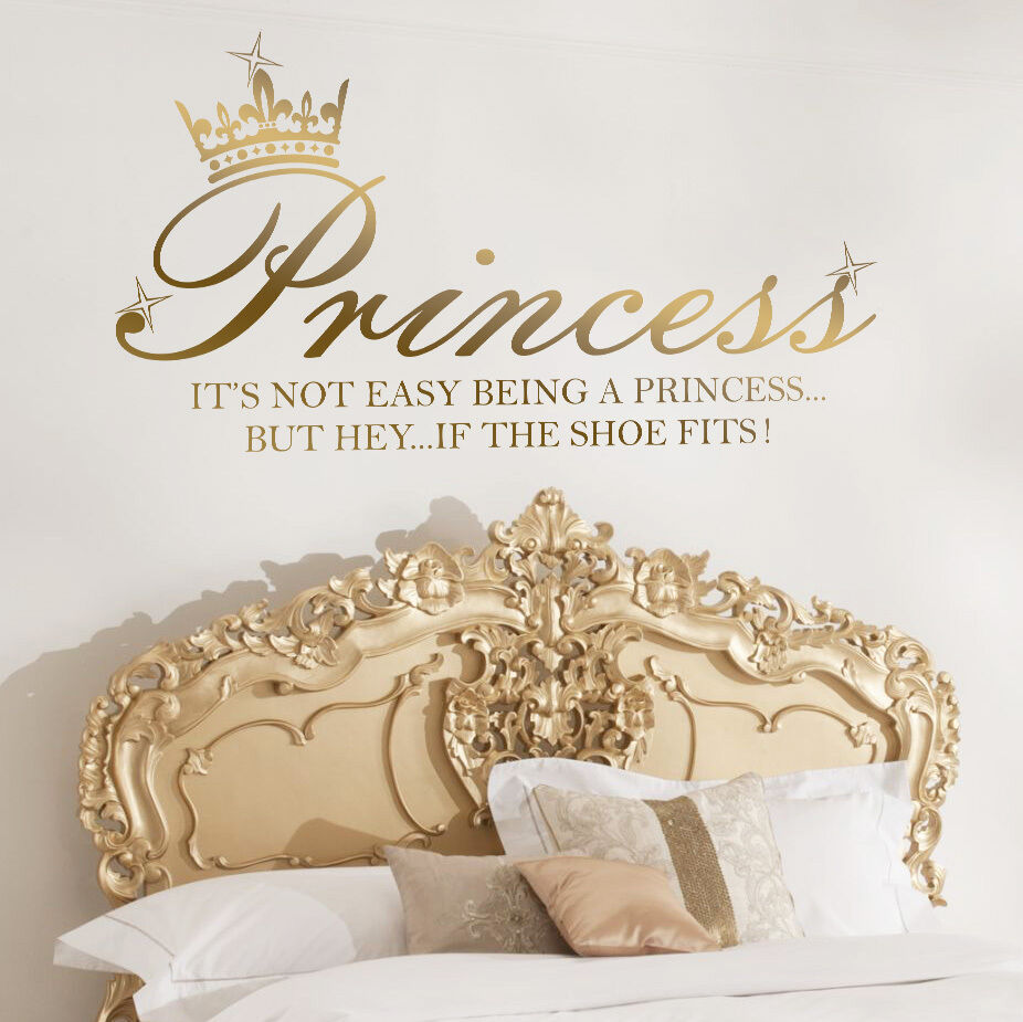 Princess Crown Shoe Quote Art Decal Girl Bedroom Vinyl