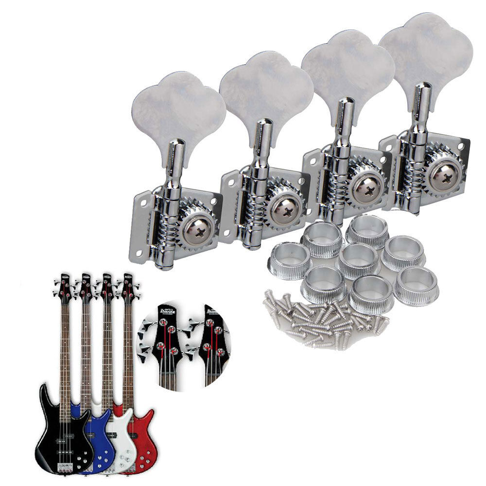 4pcs chrome bass guitar machine heads knobs tuners tuning pegs guitar parts ebay. Black Bedroom Furniture Sets. Home Design Ideas