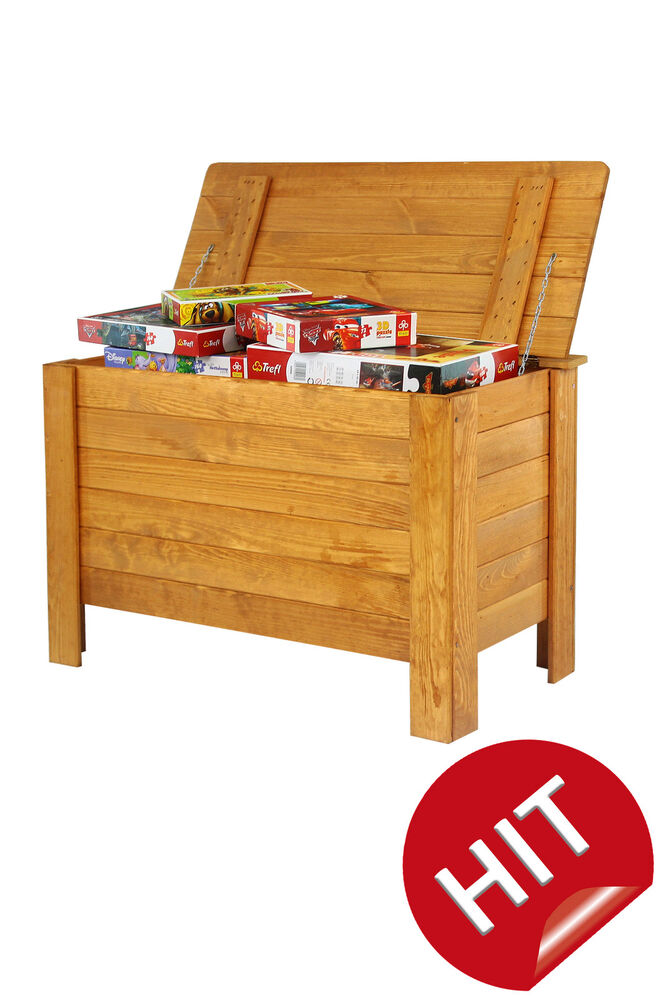 holztruhe truhe kiste mit deckel w schetruh e spielkiste box b 13 3 farben ebay. Black Bedroom Furniture Sets. Home Design Ideas