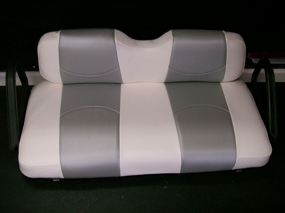 club car ds 39 00 up golf cart custom seat covers front rear wht cf slvr ebay. Black Bedroom Furniture Sets. Home Design Ideas
