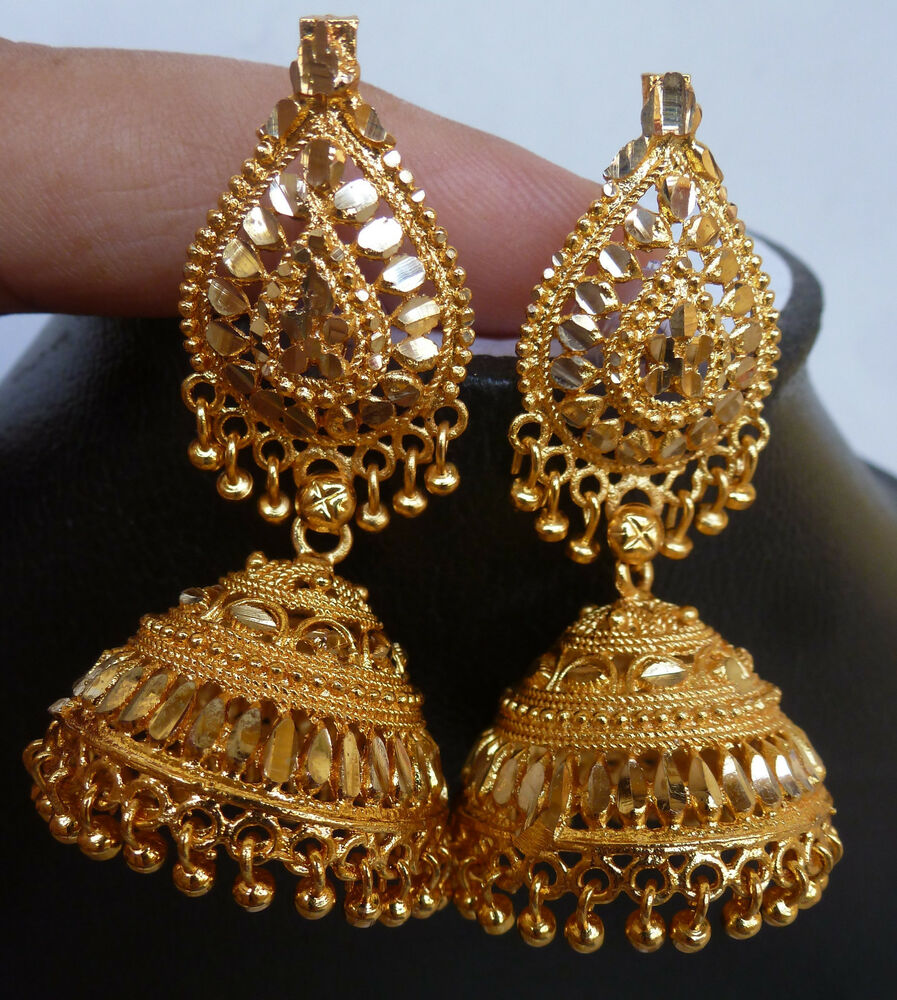 Indian Bridal Necklace Set 22k: 22K Gold Plated South Indian Earrings Jhumka Bridal Party